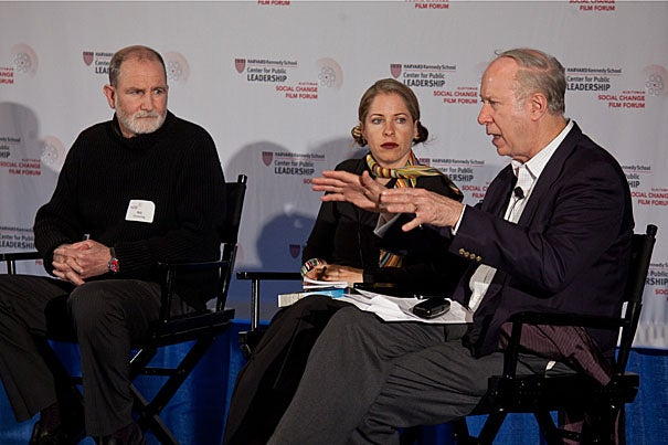 Filmmaker Bill Guttentag (left), Webby Awards founder Tiffany Shlain, and Director of the Center for Public Leadership David Gergen.