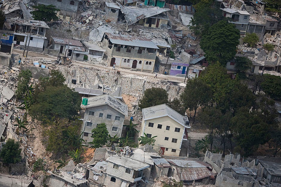 A closer aerial look at the Haitian capital of Port-au-Prince, which was destroyed in many places.   Justin Ide/Harvard Staff Photographer