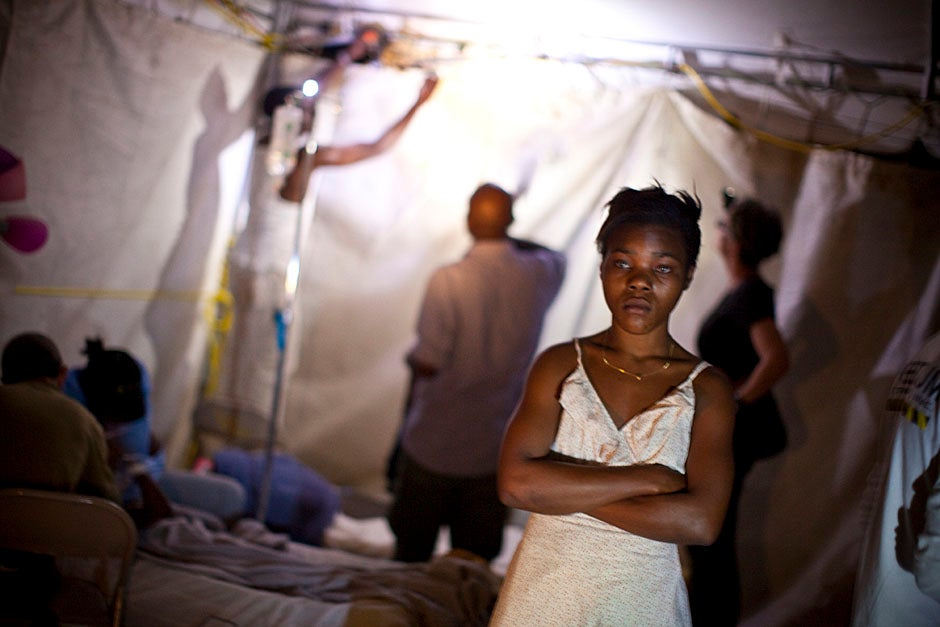 A young girl in the triage tent at the rehabilitation hospital in Fond Parisien, Haiti.    Justin Ide/Harvard Staff Photographer