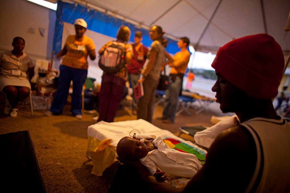 The triage tent at the rehabilitation hospital in Fond Parisien, Haiti.    Justin Ide/Harvard Staff Photographer