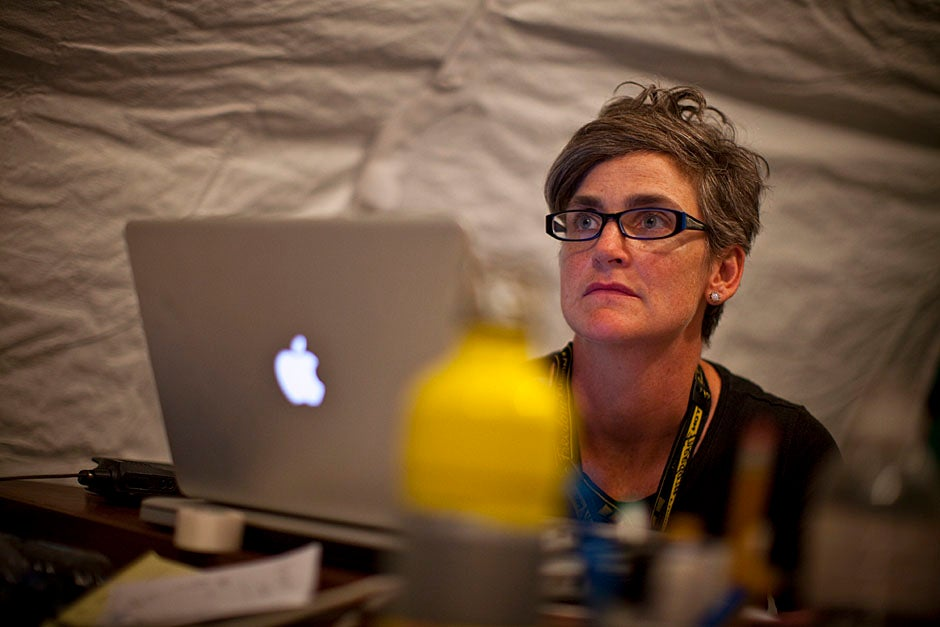 Hilarie Cranmer from Harvard Humanitarian Initiative listens to the discussion.    Justin Ide/Harvard Staff Photographer
