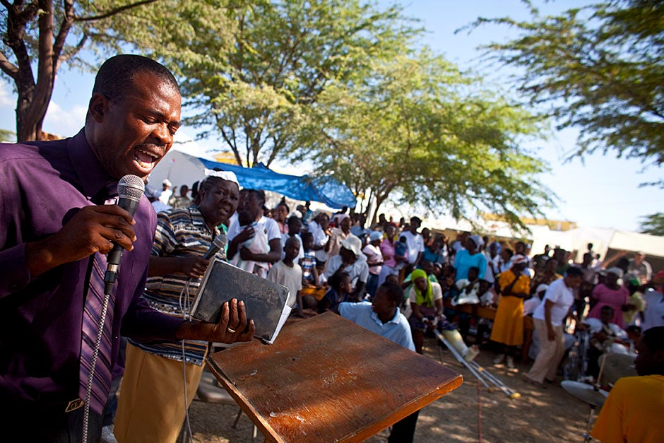 Sunday church service on the grounds of the field hospital.   Justin Ide/Harvard Staff Photographer