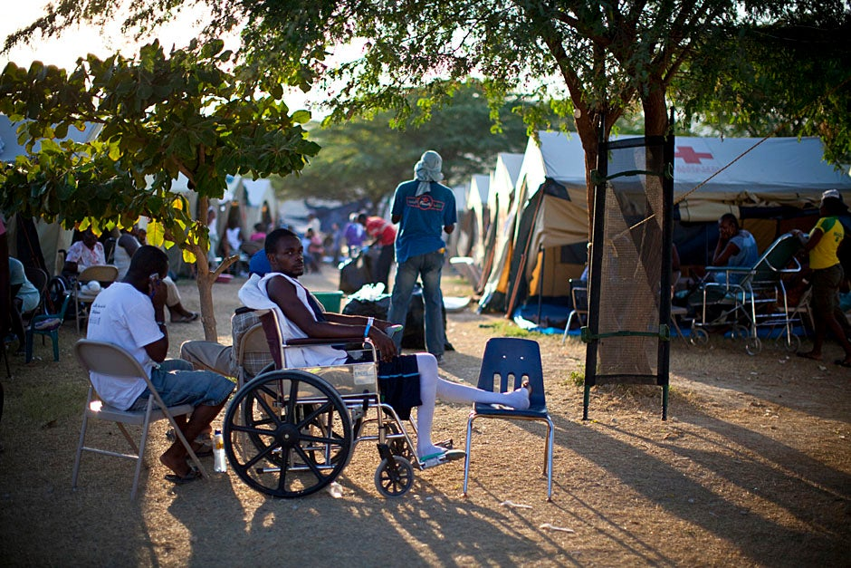 Late afternoon sun sets on the field hospital.   Justin Ide/Harvard Staff Photographer