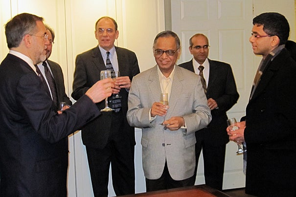 Provost Steven Hyman (far left) and other Harvard officials join the Murty family to celebrate the new Murty Classical Library of India series.