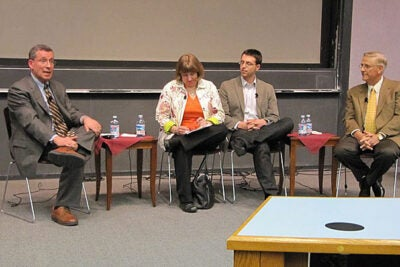 "Robert Blendon (left), Julie Rovner, Ezra Klein, and Timothy Johnson discuss ""Covering Health Care Reform in the Digital Age."" The panel event, which was co-sponsored by the Shorenstein Center, was part of the Kennedy School's Public Service Week events."