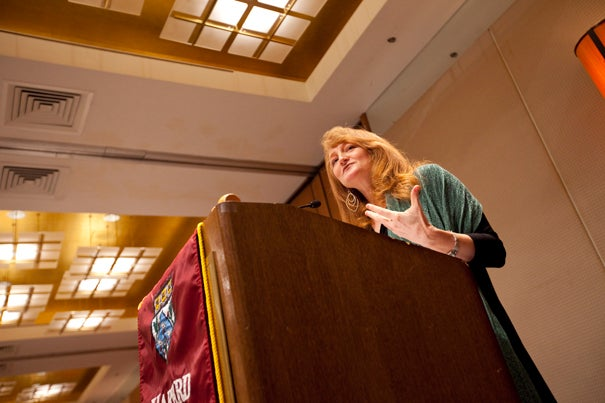 """Krista Tippett, host of NPR's """"Speaking of Faith,"""" delivered the keynote address at the Harvard Divinity School's """"Finding Our Way"""" conference. """"The complexity of our age is driving people back to the enduring responses of ethical and spiritual thinking that our great traditions have carried forward in time,"""" she said."""