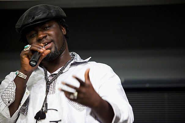 """During an afternoon session of  the two-day conference """"The Language of Global Hip-Hop Culture,"""" Mamadou Ndiaye performed."""