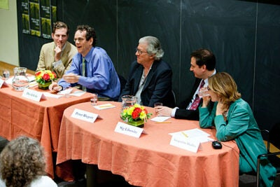 "A panel discussion followed the screening of the film ""The Response,"" which is based on transcripts from military tribunals held at the Guantanamo Bay detention camp in Cuba. Panelists examining the film included Harvard Law School Professor Noah Feldman (from left), Georgetown University Professor David Cole, actor  Peter Riegert, writer/producer Sig Libowitz, and Jacqueline Bhabha, executive director of the Harvard University Committee on Human Rights Studies."
