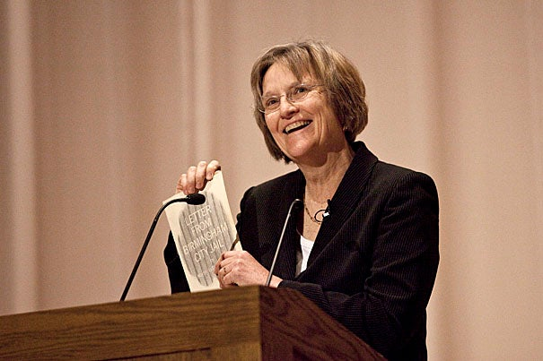 "With her personal copy of Martin Luther King's ""Letter from Birmingham Jail,"" President Drew Faust talked about how the Civil Rights Movement and King's words affected her. She told the Harvard Business School students that they don't have to enter service-related fields to foster change. If they desire it, opportunities to act will become apparent. ""Keep in mind this intense desire to make a difference, and you're going to find a lot of opportunities to do it,"" Faust said."