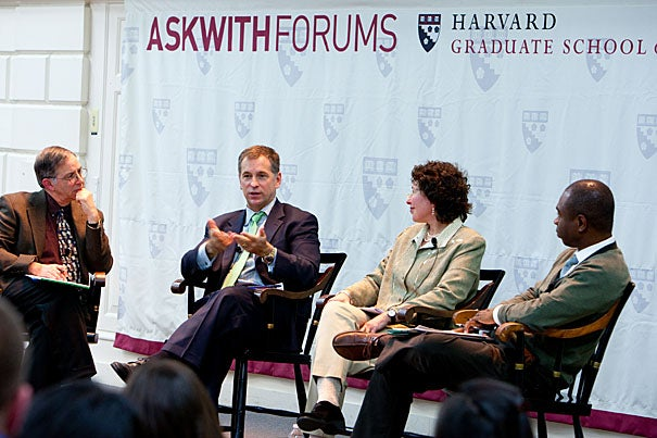 """Harvard University Graduate School of Education hosted """"What Matters and What Counts? Expanding What We Value in Schools,"""" with a panel that included Steve Seidel (from left), Kevin Jennings, Beth Gamse, and Thabiti Brown."""