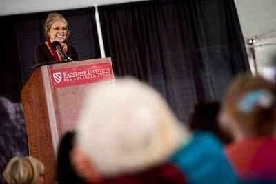 Gloria Steinem is awarded the Radcliffe Medal during the Radcliffe Institute annual luncheon in Radcliffe Yard at Harvard University.