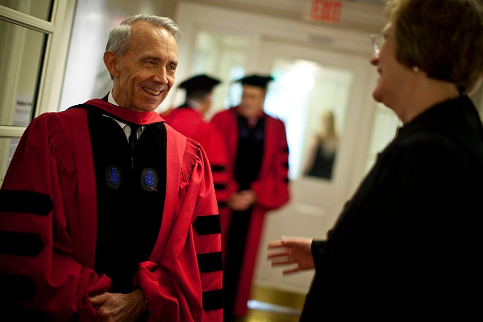 Retired U.S. Supreme Court Justice David Souter,  an honorary degree recipient and the speaker for the Afternoon Exercises, talks with President Drew Faust inside Massachusetts Hall prior to the festivities. Justin Ide/Harvard Staff Photographer