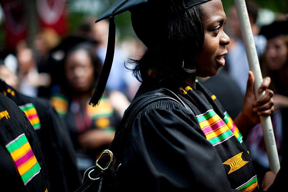 Graduates process into Tercentenary Theatre. Stephanie Mitchell/Harvard Staff Photographer