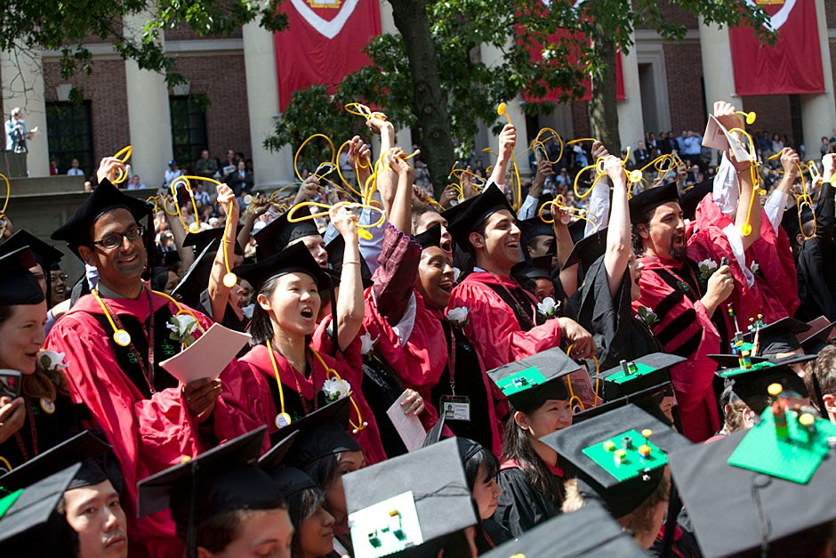 Members of the Harvard School of Public Health Class of 2010 celebrate. Kris Snibbe/Harvard Staff Photographer