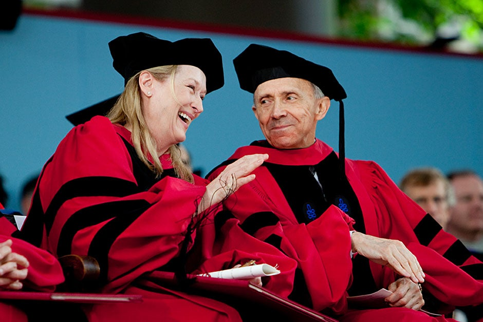 Honorary degree recipients Meryl Streep and David H. Souter share a laugh. Rose Lincoln/Harvard Staff Photographer