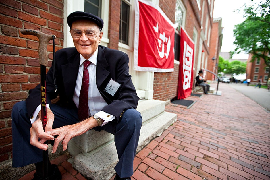 Viktor Pokorny '50, sitting outside Straus Hall, returned to Harvard to celebrate his 60th reunion. Rose Lincoln/Harvard Staff Photographer