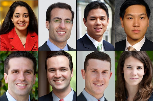 Clockwise from top: Maya A. Babu, Sean A. Cameron, Richard Chung,  Philip Wong, John W. Coleman, Robert M. Daly Jr., Andrew D. Klaber, and Whitney F. Petersmeyer.