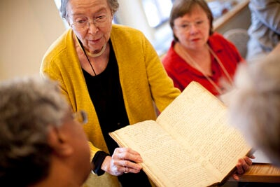 Barbara Ketcham Wheaton led an interactive, weeklong seminar in culinary history that featured a close look at centuries-old cookbooks from the Schlesinger Library's collection.