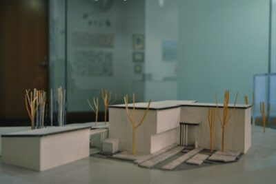 An architectural landscape model by Bruce Williams is part of the Radcliffe Institute staff art show.