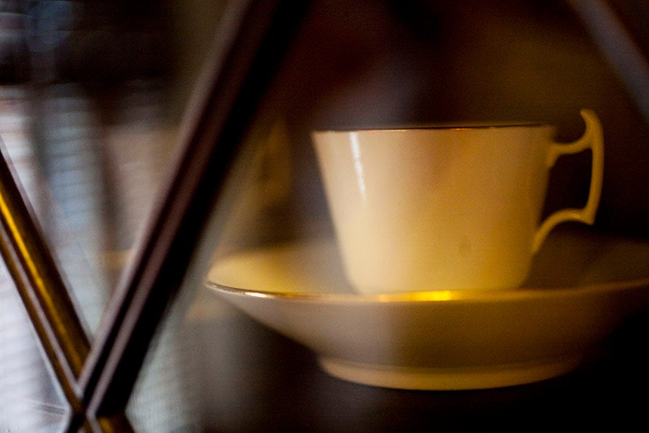 The Emily Dickinson Room in Houghton Library is home to a graceful tea set owned by the reclusive poetess. Stephanie Mitchell/Harvard Staff Photographer