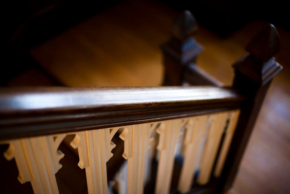 The stairs at Andover Hall at Harvard Divinity School light the way toward a righteous education. Stephanie Mitchell/Harvard Staff Photographer