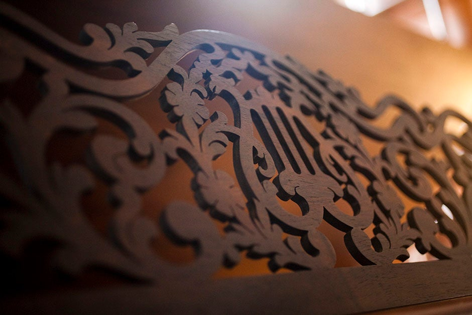 An ornamented music stand awaits a concerto in a River House rehearsal room. Stephanie Mitchell/Harvard Staff Photographer
