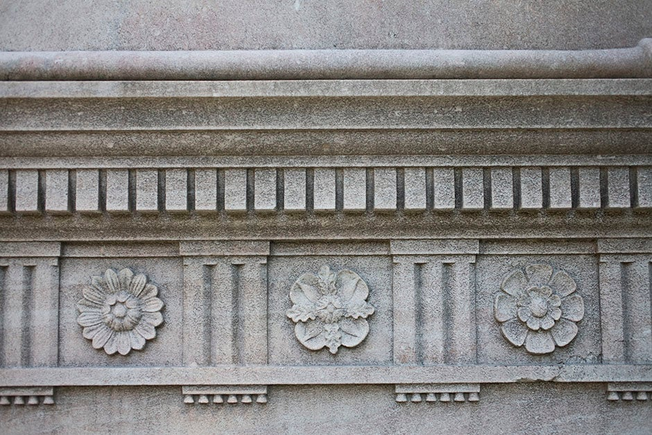 These flower patterns line the exterior walls of Robinson Hall. Stephanie Mitchell/Harvard Staff Photographer
