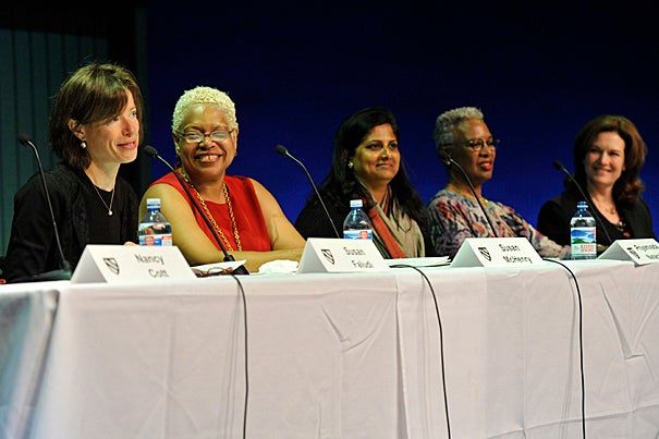 """Veteran feminists gathered at the Loeb Drama Center, forming a panel called """"Feminism Then and Now.""""  Sharing insight on the topic were Susan Faludi (from left), Susan McHenry,  Priyamvada Natarajan, Nell Irvin Painter, and Diana Scott."""