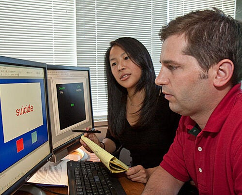 """""""Our work provides two important new tools clinicians can use in deciding how to treat potentially suicidal patients,"""" said Harvard Professor of Psychology Matthew K. Nock (right), who worked on the study with Christine B. Cha (left), a doctoral student in psychology."""