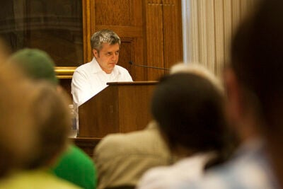 """Author Paul Harding reads from his acclaimed novel """"Tinkers"""" and takes questions from the Barker Center audience."""