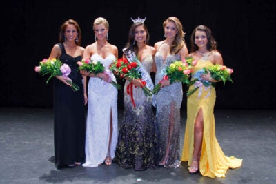 Loren Galler Rabinowitz '10 (center), a former English concentrator just a month out of Harvard, has been crowned Miss Massachusetts.