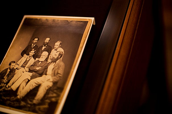 """In a continuing celebration of William James, Harvard's Houghton Library houses  the exhibit """" 'Life is in the transitions': William James, 1842-1910."""" The exhibit, which includes sketches, manuscripts, lecture notes, and letters, will continue through Dec. 23. In this 1865 photograph, William James (front row, far left) is among  members of the Thayer Expedition."""