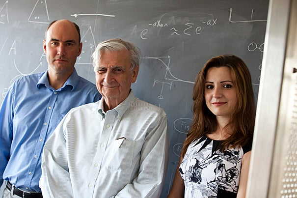 Mathematical biologists Martin A. Nowak (from left) and Corina E. Tarnita and evolutionary biologist E.O. Wilson presented a new theory on the evolution of eusociality, the rare but spectacularly successful social structure in which individuals of the world's most dominant species cooperate to raise offspring.