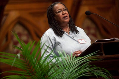 """""""I accepted the job of dean of Harvard College to give my very best energy to making this institution help all students reach their fullest potential,"""" College Dean Evelynn Hammonds told the Class of 2014 and their families during the official welcome in Sanders Theatre."""