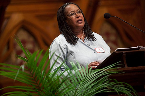 """I accepted the job of dean of Harvard College to give my very best energy to making this institution help all students reach their fullest potential,"" College Dean Evelynn Hammonds told the Class of 2014 and their families during the official welcome in Sanders Theatre."
