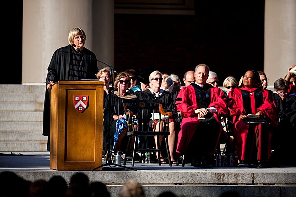 """Find that part of you that will take a chance on an idea or an ideal, the part of you that is willing to fail,"" President Drew Faust told the Class of 2014 during their convocation in Tercentenary Theatre. ""Our job is to help make this willingness for risk and invention become second nature to you, so that your idea of success includes some failure, so that you allow yourselves to become uncomfortable as you try new things."""