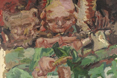 """""""Curly Head"""" may recall German impressionists of the 1920s, but place of portraiture and order the painting's three horizontal zones display chaos, horror, grotesquery, masturbation, and implied violence."""