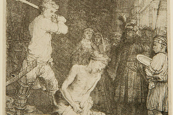 Spurred on by her mother, the beautiful Salome requested from Herod the head of John the Baptist on a platter (Mark 6:14-29). Starting with Titian, artists often portrayed the bearer of the dish with John's severed head as a young black boy. In Rembrandt's etching, a black boy, clutching the empty dish against his chest, is shown observing the killing itself. The boy's humanity and innocence stand in sharp contrast to the brutality and aggressiveness of the executioner. (Detail of image)