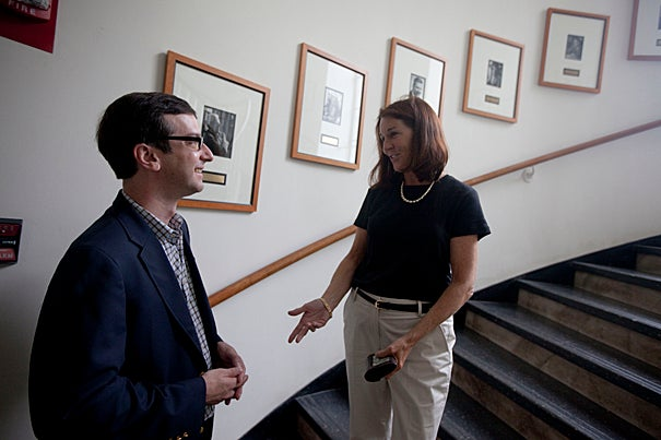 """Saving for retirement should not be like buying a lottery ticket,"" says Robert I. Goldman Professor of Economics David Laibson, seen here with Patricia Boudrot, manager of financial administration in the Department of Economics."