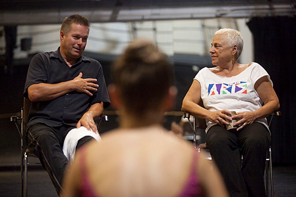"""""""Listen to the music,"""" Boston Ballet Artistic Director Mikko Nissinen (left) told students from Office for the Arts' Dance Program. """"The music tells you more than you think."""" Nissinen, seen here with Elizabeth Bergmann (right), director of the dance program, gave a master class on campus."""