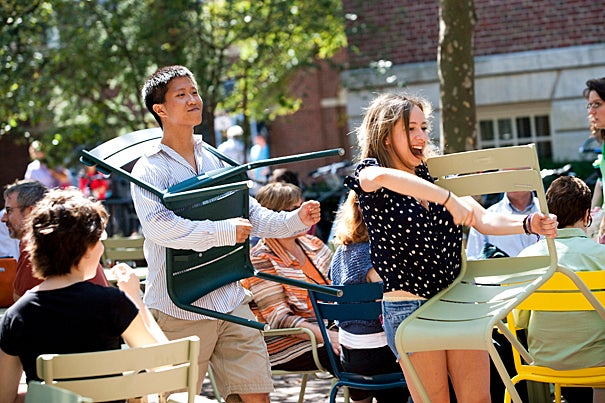 """""""The Chair Revue"""" was the first in what has become a fall happening in connection with the Common Spaces Chairs Project, an initiative launched last year to promote gathering spaces around the campus with the addition of tables and chairs, food, and live performances."""