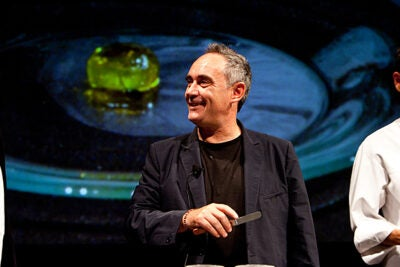 """""""Cooking never, ever got into university,"""" said renowned chef Ferran Adrià during a public lectures at Harvard's Loeb Drama Center. """"Tomorrow, all the world will be talking about this moment."""""""