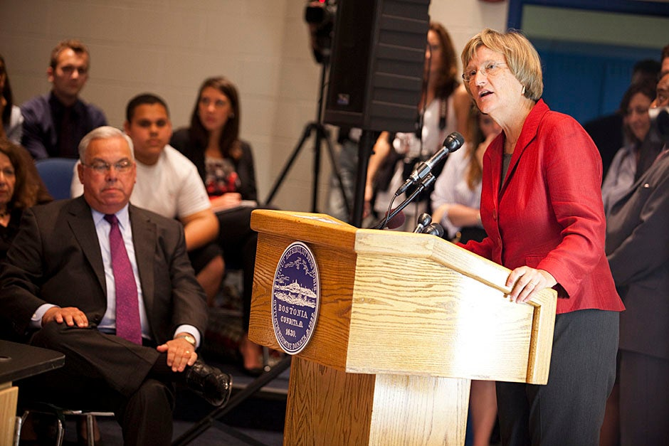 President Drew Faust (at podium) was on hand as Harvard University and Cisco unveiled a gift to Boston and Cambridge schools that will allow students and teachers to video conference with individuals around the world. Stephanie Mitchell/Harvard Staff Photographer