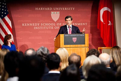"Ahmet Davutoglu, Turkey's minister of foreign affairs: """"Each of us, we are representing humanity here, not individual nationalities."" Davutoglu addressed a packed Harvard Kennedy School forum Tuesday night."