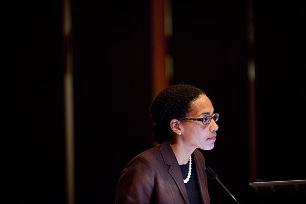 """Radcliffe Fellow Erica Caple James, a Harvard-trained medical anthropologist at MIT, delivers her fellows talk on """"Charity, Security, and Disparities: Haitian Quests for Asylum."""""""