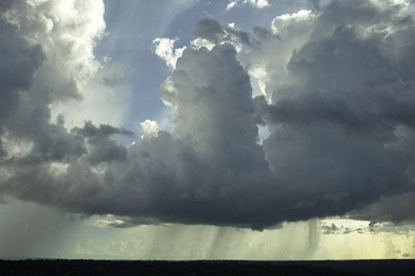 """Lead author Scot Martin and his colleagues expect their ability to isolate relatively """"pure"""" aerosol particles will help elucidate natural aerosol-cloud interactions in the Amazon Basin. Pictured is a typical cumulus cloud; sheets of rain can be seen underneath."""