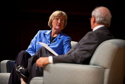 President Drew Faust answers questions posed by Charlie Gibson during her opening-year dialogue at Sanders Theatre.