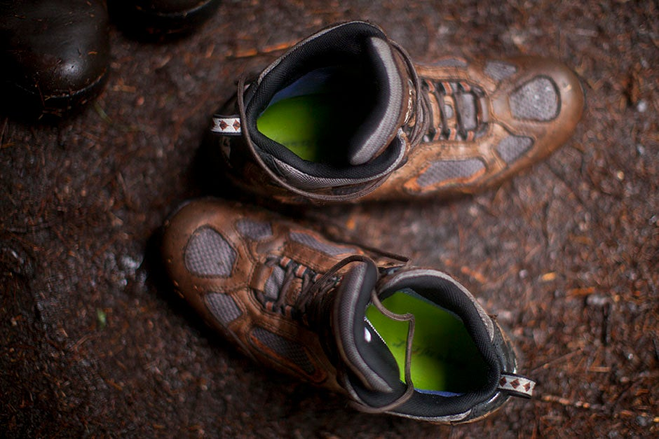 Four days of rain make for wet and grimy boots in camp.    Justin Ide/Harvard Staff Photographer