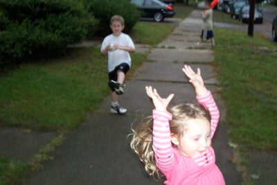 Children can gain important benefits in happiness and fitness from simple games.