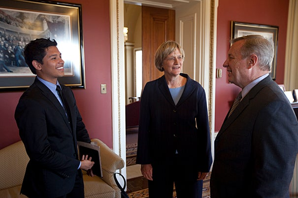 Eric Balderas '13 (left), Harvard President Drew Faust, and Sen. Richard Durbin discuss the DREAM Act at the U.S. Capitol.